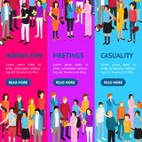 People Set Man and Woman Banner Vecrtical Set Isometric View. Vector. People Set Man and Woman Banner Vecrtical Set Isometric View Fun and Meeting. Vector Royalty Free Stock Image