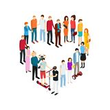 People Set Man and Woman Isometric View. Vector. People Set Man and Woman Isometric View Person Social Element Diverse Character Heart Shape Concept Love. Vector Stock Photos