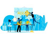 People Set Up Banner Separated on Puzzle Pieces royalty free illustration