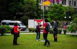 People Setting Up Korfball Post On Sports Festival Stock Photos