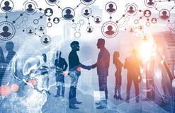 People shake hands, global people network stock illustration