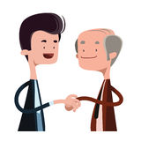 People shaking hands  illustration cartoon character. Enjoy Stock Image