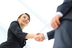 People shaking hands. Two professional business people shaking hands Stock Images
