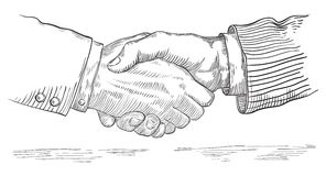 People shaking hands. Vector of handshake of two businessmen  at retro engraving style Stock Images