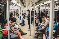 People in Shanghai metro, China. SHANGHAI, CHINA - MAY 08, 2016: Shanghai metro royalty free stock images