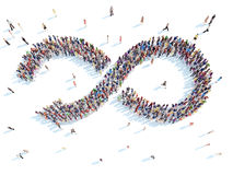 People in the shape of an arrow. stock illustration