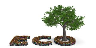 People shape as ECO letter with tree isolated on white backgroun. D. 3D illustration stock illustration