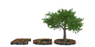 People shape as ECO letter with tree isolated on white backgroun. D. 3D illustration vector illustration
