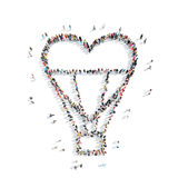 People in the shape of a balloon, heart Stock Photo