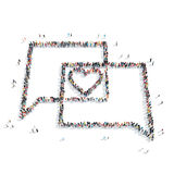 People in the shape of a buble chat , heart. A group of people in the shape of a buble chat , heart , a flashmob Stock Photos