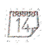 People in the shape of a calendar. A group of people in the shape of a calendar, a flash mob Royalty Free Stock Photo