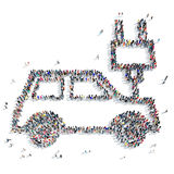 People  shape car ecology icon. A large group of people in the shape of a car, ecology, icon, isolated on white background, 3D illustration Stock Photos