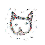 People in the shape of a cartoon cat. Royalty Free Stock Images