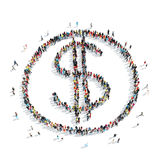People  shape dollar sign money. A group of people in the shape of a dollar sign, money, cartoon, isolated, white background Stock Image