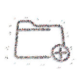 People in the shape of a folder. A group of people in the shape of a folder, a flash mob Royalty Free Stock Image