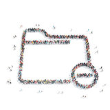 People in the shape of a folder. A group of people in the shape of a folder, a flash mob Royalty Free Stock Images