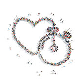 People in the shape of heart, cardio. A group of people in the shape of heart, cardio, flash mob Stock Photo
