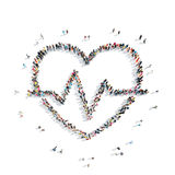People in the shape of heart, cardio. A group of people in the shape of heart, cardio, flash mob Stock Image