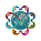 People in shape of heart joining hands over globe. People joining hands peace cooperation love concept isolated Stock Photo