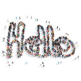People shape hello  cartoon Stock Image