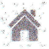 People in the shape of a house. Royalty Free Stock Photos