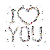 People in the shape of I love you. Royalty Free Stock Photography