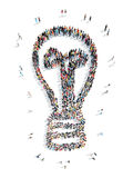 People in the shape of lamp. Group of people in the shape of lamp, flash mob, an idea Stock Image