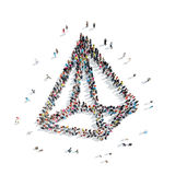 People in the shape of a pyramid. Royalty Free Stock Photo