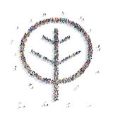 People shape  tree ecology. A large group of people in the shape of a tree, ecology, icon, isolated on white background, 3D illustration Royalty Free Stock Photography