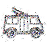People  shape  trolley ecology. A large group of people in the shape of a trolley, ecology, icon, isolated on white background, 3D illustration Stock Photography