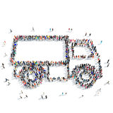 People  shape truck. A large group of people in the shape of a truck, icon, isolated on white background, 3D illustration Stock Image