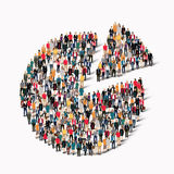 People  shapeCircular diagram. A large group of people in the shape of Circular diagram. Vector illustration Royalty Free Stock Photography