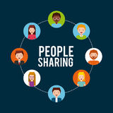 People sharing design. People cartoon icon over colorful circles and blue background. colorful design. people sharing concept.  illustration Royalty Free Stock Image