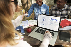 People sharing information using social media royalty free stock photo