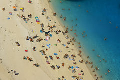 People at shipwreck beach at Zakynthos island. Greece Royalty Free Stock Photography