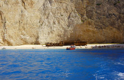 People on shipwreck beach at Zakynthos island Stock Images