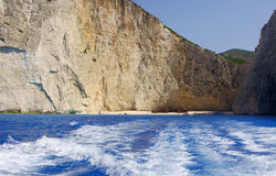 People on shipwreck beach at Zakynthos island Stock Image