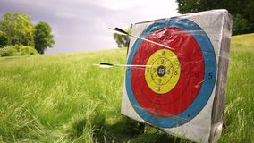 People shooting arrows, target is in a lovely green field of grass. stock video footage