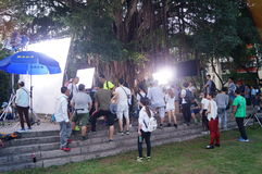 People are shooting the movie in the park Royalty Free Stock Photography
