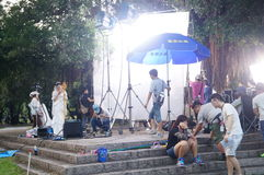 People are shooting the movie in the park Stock Photos