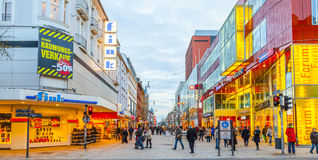 People shop in the main pedestrian Royalty Free Stock Image
