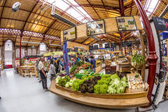 People shop in the old market hall in Colmar Stock Photos