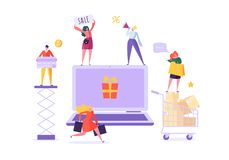 People Shop Online Using Laptop. E-commerce, Consumerism, Retail, Sale Concept. Characters Shopping Mobile Purchase. Vector illustration royalty free illustration