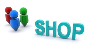 People and shop sign Royalty Free Stock Photo