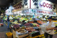 People shopping at Adelaide Central Market  in Adelaide South Australia. People shopping at Adelaide Central Market is one of Australia`s largest fresh produce royalty free stock photos