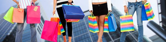 People with shopping bags Royalty Free Stock Images