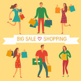 People with shopping bags with love shopping title Royalty Free Stock Photography