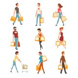 People with shopping bags set, young men and women enjoying shopping and purchasing of goods or gifts vector vector illustration