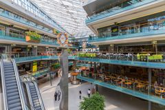 People shopping in a big Dutch indoor shopping mall Royalty Free Stock Image