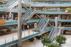 People shopping in a big Dutch indoor shopping mall Royalty Free Stock Photo